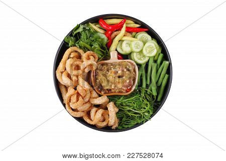 Isolated Of Green Chili Dip As Nam Prik Num In Thai With Crispy Pork Rind ,spicy Pepper,boiled Cow-p