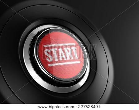 Red start button. 3d rendering