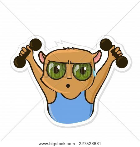 Sticker For Messenger With Funny Animal. Hamster Doing Exercises With Dumbbells. Vector Illustration