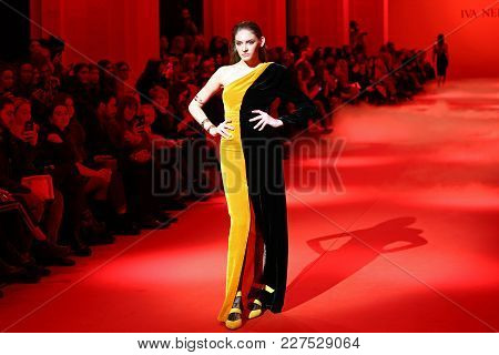 Kyiv, Ukraine - February 5, 2018: Model Walks The Runway At Iva Nerolli Collection Show During Ukrai
