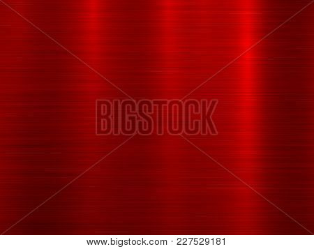 Red Metal Abstract Technology Background With Polished, Brushed Texture, Chrome, Silver, Steel For D