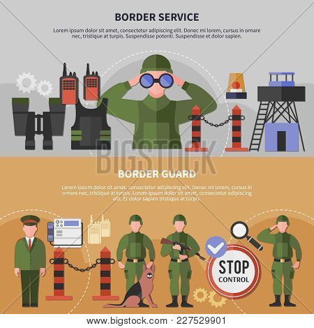 Two Horizontal Border Service Banners Set With Guards Wearing Uniform Flat Isolated Vector Illustrat