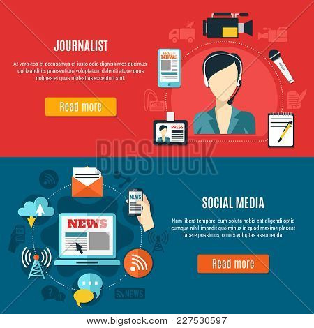 Social Media And Journalist Horizontal Banners With Professional Attributes Of Traditional And Conte