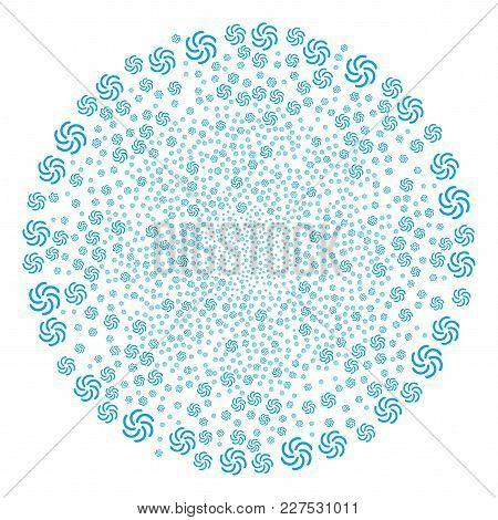 Galaxy Burst Globula. Object Pattern Organized From Random Galaxy Icons As Fireworks Cluster. Vector