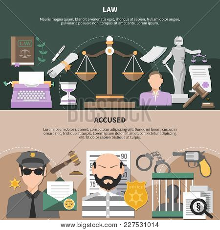 Law Horizontal Banners Set With Scales Of Justice Policeman And Accused Human Characters With Editab