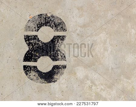 Number Eight 8 On Concrete Wall Background