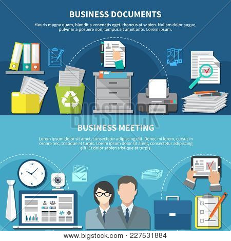 Two Horizontal Business Items Flyer Or Banner Set With Flat Elements And Documents And Meetings Head