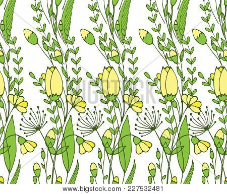 Seamless Flower Ornament And Leaf Branches. Floral Pattern. Vector Illustration
