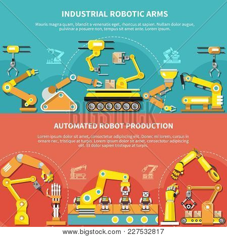 Robotic Arm Flat Composition With Industrial Robotic Arms And Automated Robot Production Description