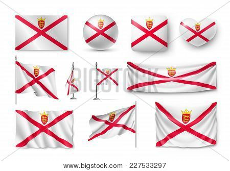 Set Jersey Flags, Banners, Banners, Symbols, Flat Icon. Vector Illustration Of Collection Of Nationa