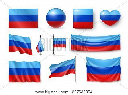 Set Luhansk People Republic Flags, Banners, Banners, Symbols, Flat Icon. Vector Illustration Of Coll