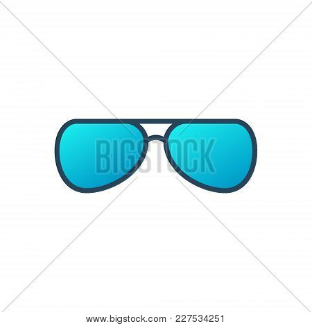 Eyeglasses Vector Blue Icon Or Symbol On White Background