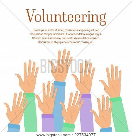 Group Of Volunteer Raise Up Hands. Helping People Icon Isolated On Blue Background. Volunteering, Ch