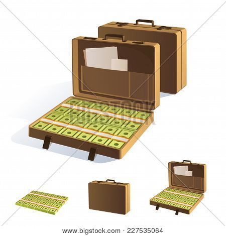 A Suitcase Of Money. Packing In Bundles Of Bank Notes. Isolated On White Background.