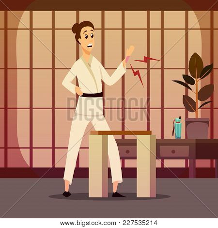 Sport Injury Flat Colorful Composition With Cartoon Character Of Karate Warrior In Kimono And Indoor