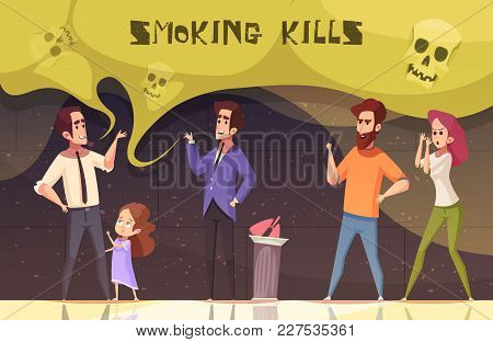 Smoking Kills Poster With Male And Female Characters Agitating Smoker To Quit Smoking Vector Illustr