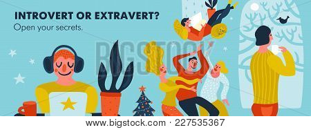 Introvert Or Extravert Header On Blue Background With Persons Of Various Tempers Hand Drawn Vector I
