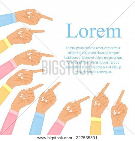 Hand With Pointing Finger, Pointing Fingers, Hand Drawn Hands Isolated On White Background. Vector I