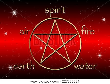 Gold Pentagram Icon With Five Elements : Spirit , Air , Earth , Fire And Water. Golden Symbol Of Alc