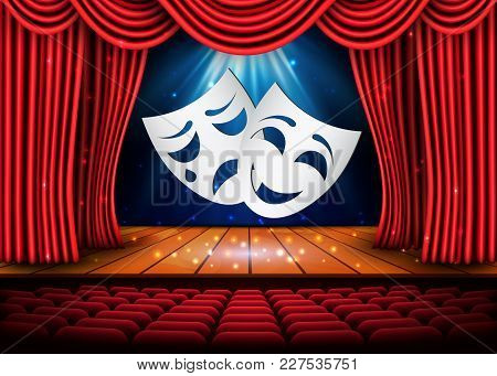 Happy And Sad Theater Masks, Theatrical Scene With Red Curtains. Stock Vector Illustration.