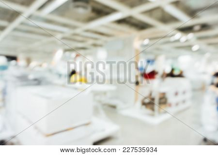 Blurred Interior Home Furniture With People Background