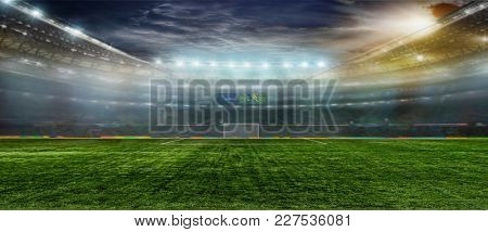Stadium in the evening in full light before the match. 2018. 3D rendering