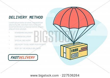 Delivery Service Concept. Flat Outline Design Colored Vector Illustration Of Package With Parachute.