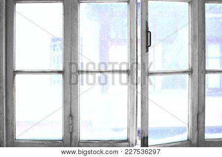 Old wooden window, view from inside