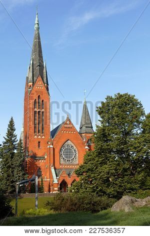 TURKU, FINLAND - AUGUST 21, 2017: View to St. Michaels church in a summer day. Built in 1905, it is one of the most popular wedding churches in Turku being able to seat 1,800 people