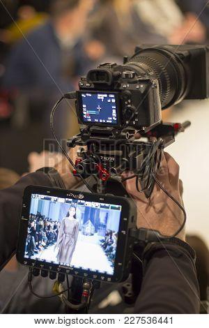 Kyiv, Ukraine - February 5, 2018: Televison Camera Broadcasting A Show During Ukrainian Fashion Week