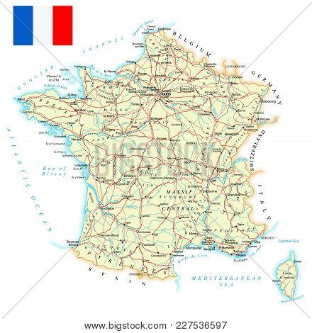 Detailed Road Map Of France.Large Detailed Road Vector Photo Free Trial Bigstock