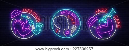 Jazz Music Collection Of Logos In Neon Style. Set Of Neon Sign Symbols, Emblem, Light Banner, Lumino