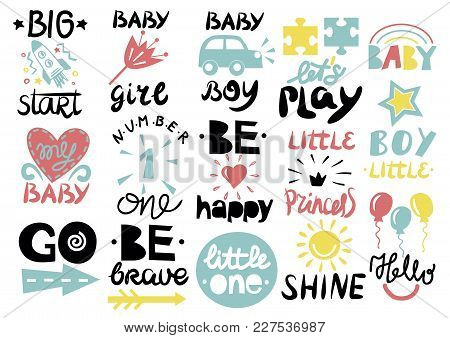 15 Children S Logo With Handwriting Little One, Hello Baby, Shine, Girl, Boy, Be Brave, Happy, Go, B