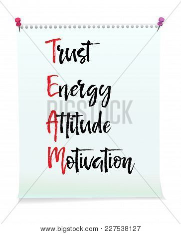 Card With Team Trust Energy Attitude Motivation Message, Business Concept