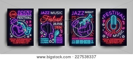 Jazz Festival Posters Neon Collection. Neon Sign, Neon Style Brochure, Design Invitation Template Fo