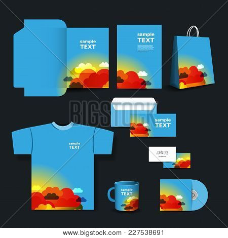 Stationery Set, Corporate Image Design Template With Colorful Pattern - Clouds