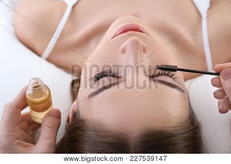 Specialist applying oil on woman's eyelashes, closeup