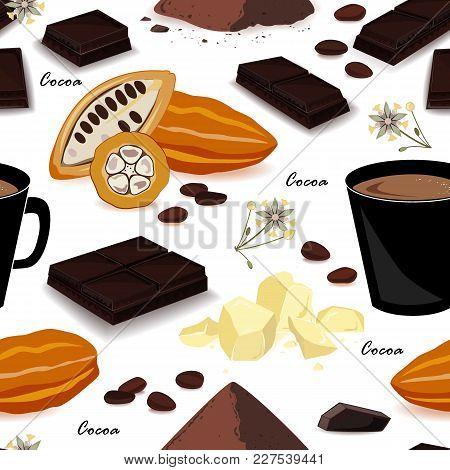 Cute And Stylish Cocoa Seamless Pattern. Pod, Beans, Cocoa Butter, Cocoa Liquor, Chocolate, Cocoa Dr