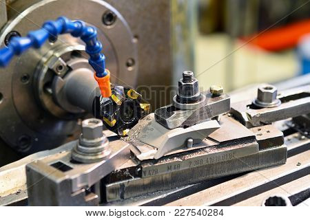 Cnc Milling Machine Machining Metal Work Piece In An Industrial Company For Mechanical Engineering