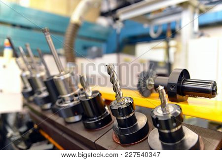 Close Up Of Cnc Mechanical Tools For Production Of Engineering Parts