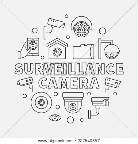 Surveillance Camera Circular Illustration - Vector Cctv Security Round Outline Symbol