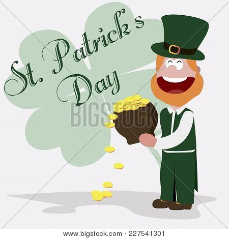 St. Patrick Leprechaun With A Pot Of Gold