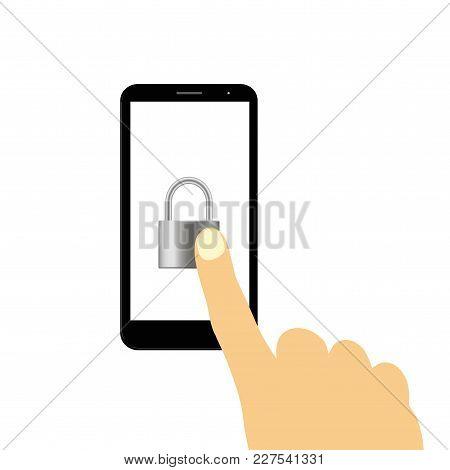 Hand Touching The Locked Smart Phone. Vector