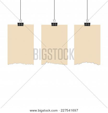 Paper Hanging With Binder On White Background. Vector