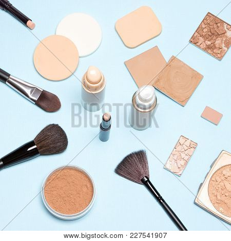 Makeup Products To Even Out Skin Tone And Complexion: Concealer, Foundation, Cosmetic Powder. Top Vi