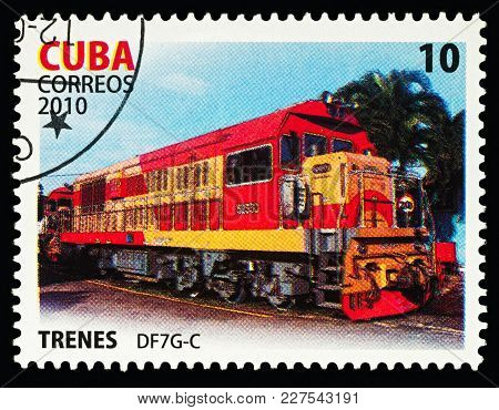 Moscow, Russia - Febuary 20, 2018: A Stamp Printed In Cuba, Shows Locomotive Df7g-c, Series