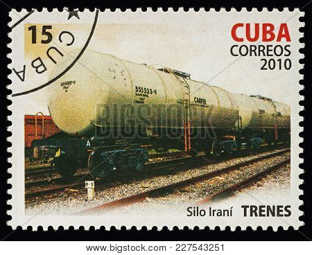 Moscow, Russia - Febuary 20, 2018: A Stamp Printed In Cuba, Shows Railway Tank Trucks, Series