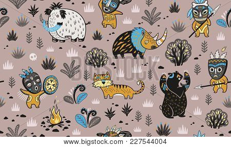 Primitive Hunting In Vector Illustration. Stone Age Seamless Pattern With Cartoon Characters And Pre