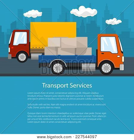 Flyer Of Road Transport And Logistics, Small Covered Truck And Cargo Van With Boxes Go On The Road,