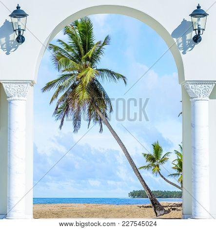 Wooden Open Door Arch Exit To The Beach Caribbean Dominican Republic